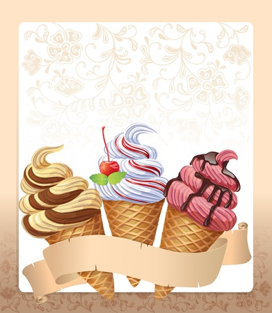 Ice cream menu  Contains transparent objects  Vector