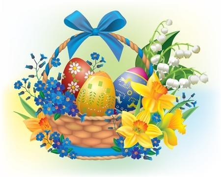 pasqua cristiana: Cestino di Pasqua Contiene oggetti trasparenti Vettoriali