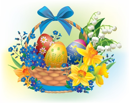 Easter basket  Contains transparent objects Vector