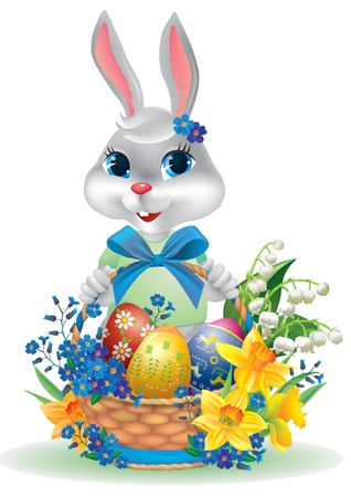 eggs in basket: Easter bunny with basket of eggs  Contains transparent objects