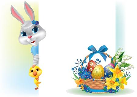 pasqua cristiana: Sfondo di Pasqua con coniglio e carrello contiene oggetti trasparenti