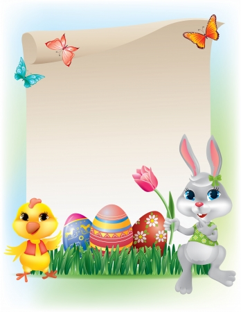 Easter background with bunny and chicken  Contains transparent objects Stock Vector - 17195473