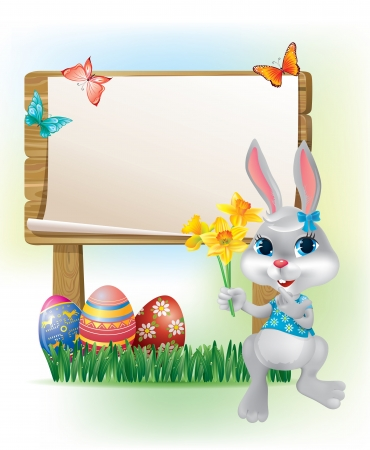 Wooden sign with Easter Bunny  Contains transparent objects   Vector