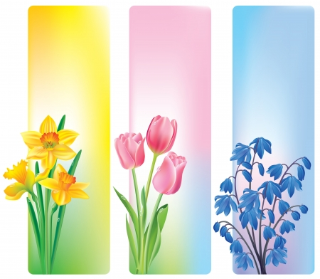 Spring flowers banners. Contains transparent objects Vector