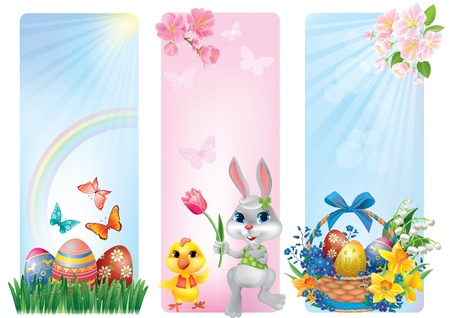 Banners for Easter. Contains transparent objects.  Vector