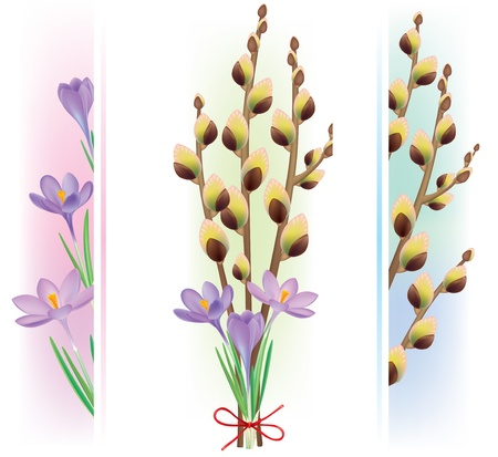 Easter symbols crocuses. Contains transparent objects. Stock Vector - 17229993