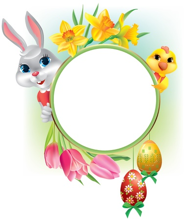 Easter round frame  Contains transparent objects  EPS10 Stock Vector - 17247605