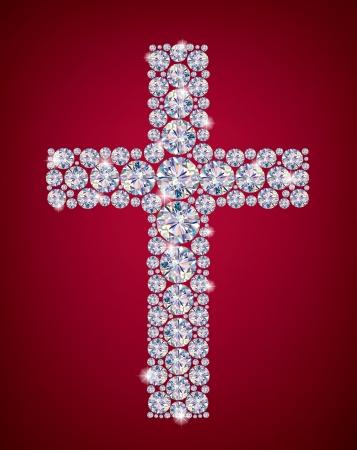 pasqua cristiana: Croce di Quadri Contiene oggetti trasparenti Vettoriali