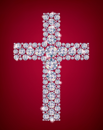gemstone background: Cross of Diamonds  Contains transparent objects