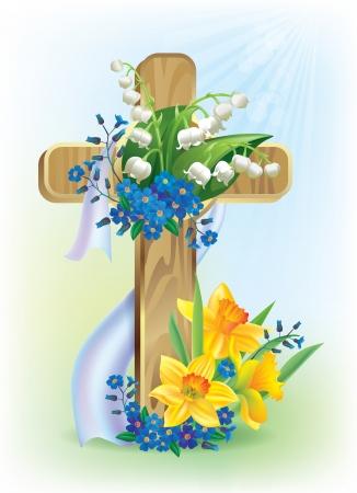 cruz religiosa: Cruz de Pascua Contiene objetos transparentes