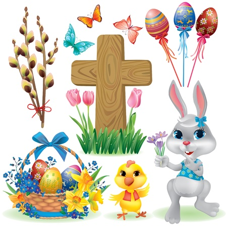 green cross: Easter symbols set. Contains transparent objects.
