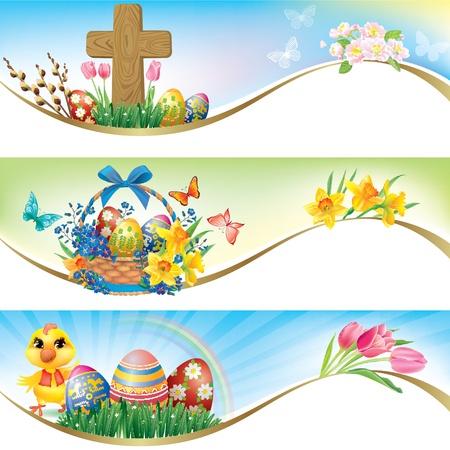 cruz roja: Easter banners horizontales. Contiene objetos transparentes. Vectores