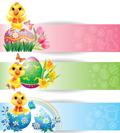 Easter colorful horizontal banners with chicken Stock Vector - 17471581