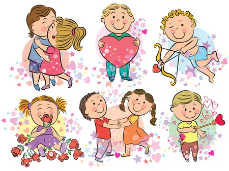 Illustration of kids with love Vector