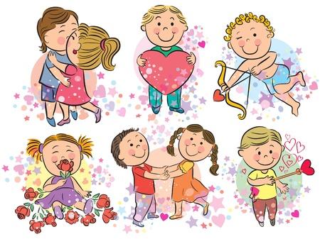 valentine s day teddy bear: Illustration of kids with love Illustration