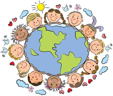 bambini disegno: I bambini della Terra. Contiene oggetti trasparenti. Vettoriali