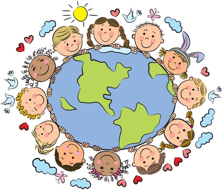 niños dibujando: Los niños de la Tierra. Contiene objetos transparentes. Vectores