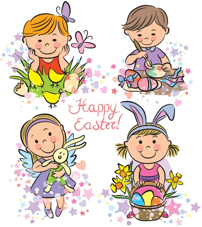 Illustration kids celebrate Easter. Contains transparent objects.