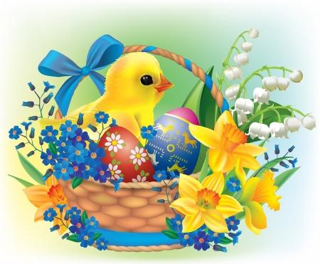 pasqua cristiana: Cesto di Pasqua con un pulcino bambino contiene oggetti trasparenti Vettoriali
