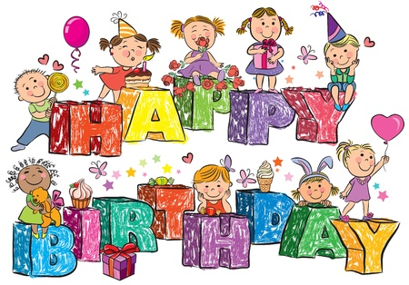 Happy Birthday kids on letters.Contains transparent objects. Stock Vector - 17740594
