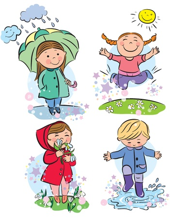 Spring children  Contains transparent objects   Vector