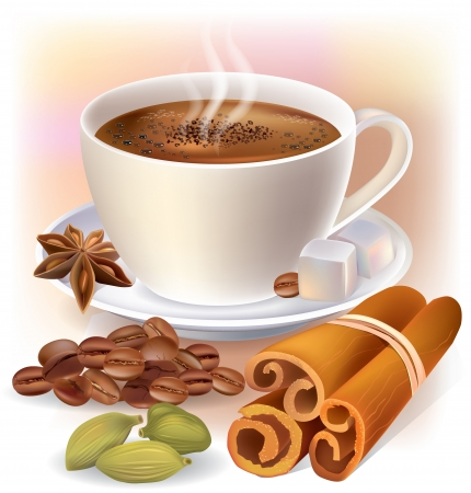 cappuccino: Aromatic coffee with spices  Contains transparent objects