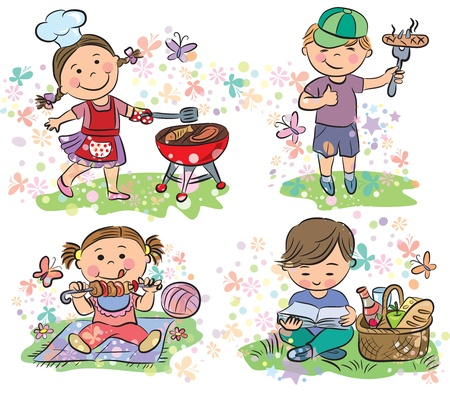 Kids on picnic with barbecue  Contains transparent objects   Vector