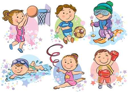 child sport: Sports kids  Contains transparent objects  Illustration