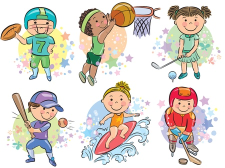 Sporting kids  Contains transparent objects  EPS10 Vector