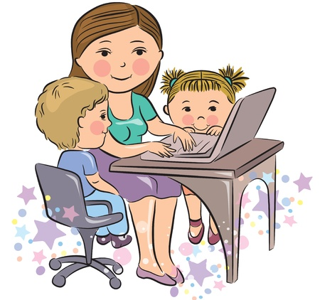 Busy mother works with kids. Contains transparent objects. EPS10 Vector