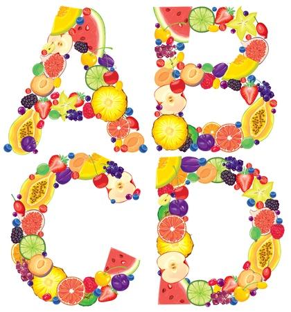 grosella: Alfabeto de Cartas fruta A, B, C, D