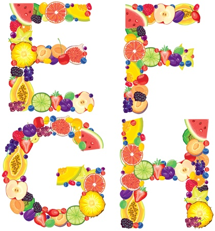 Alphabet from fruit Letters E,F,G,H   Vector