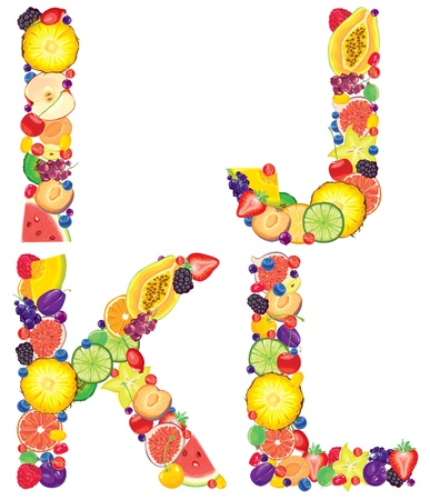 Alphabet from fruit Letters I,J,K,L   Vector