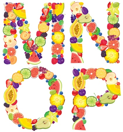 Alphabet from fruit Letters M,N,O,P  Vector
