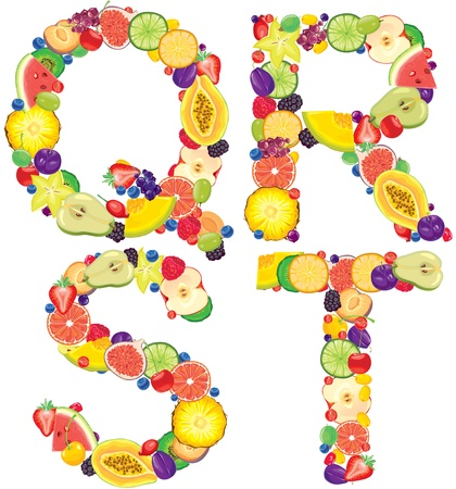 Alphabet from fruit Letters Q,R,S,T  Vector