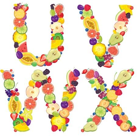 grosella: Alfabeto de Cartas fruta U, V, W, X