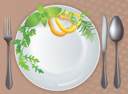 Tableware healthy food  Contains transparent objects  Vector