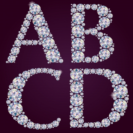Alphabet of diamonds ABCD  Contains transparent objects   Vector
