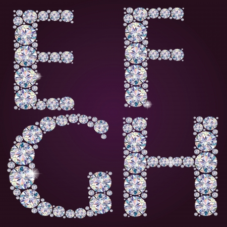 Contains transparent objects  Alphabet of diamonds EFGH Stock Vector - 18866064