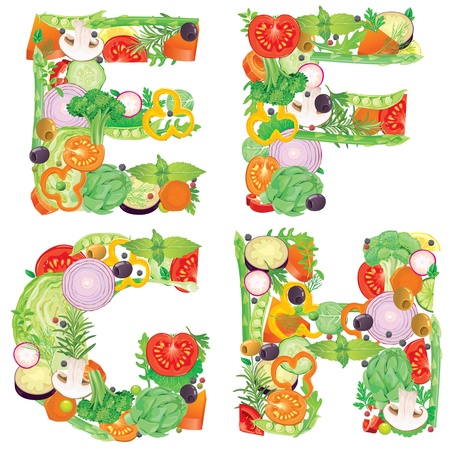 Alphabet of vegetables EFGH  Contains transparent objects  EPS10  Vector