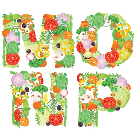 Alphabet of vegetables MNOP  Contains transparent objects Vector