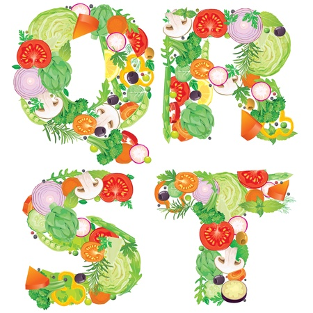 Alphabet of vegetables QRST  Contains transparent objects Vector