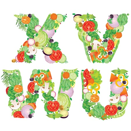 Alphabet of vegetables VWUX  Contains transparent objects Vector
