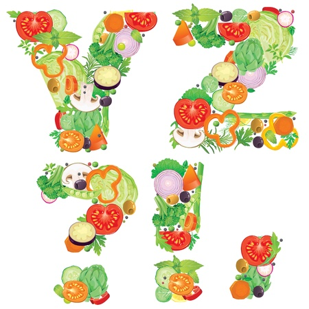 Alphabet of vegetables YZ  Contains transparent objects