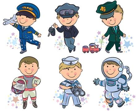 astronauta: Profesiones conjunto de niños 1 Contiene objetos transparentes Vectores