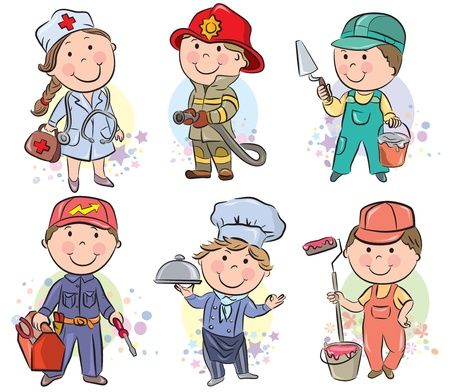 overalls: Professions kids set 3. Contains transparent objects.