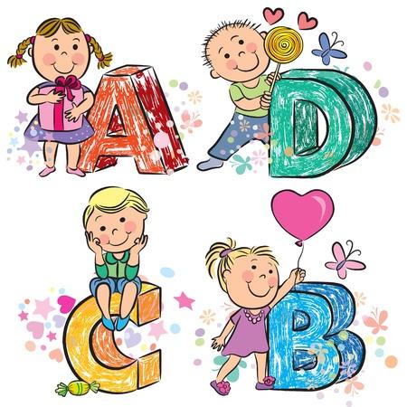 alphabet animaux: Alphabet dr�le avec des enfants ABCD Illustration