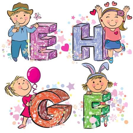 alfabeto con animales: Alfabeto divertido con los niños EFGH Vectores
