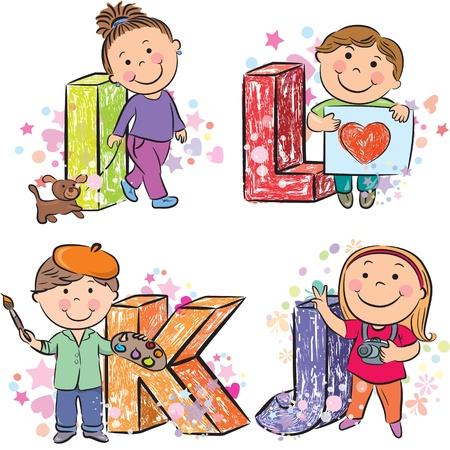 alphabet animaux: Alphabet dr�le avec des enfants IJKL