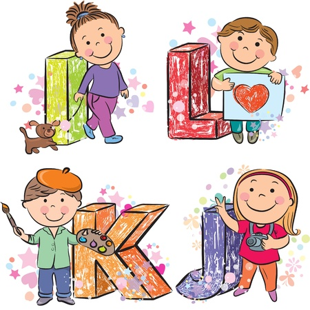 letter alphabet pictures: Funny alphabet with kids IJKL